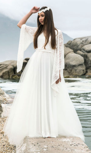 Bell sleeve wedding dress